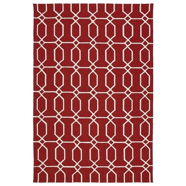 Indoor/Outdoor Handmade Getaway Red Links Rug - 8' x 10'