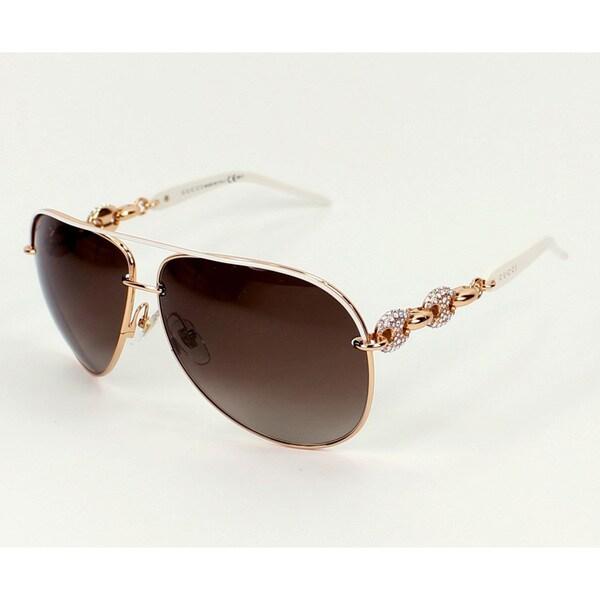 f788a64185e Shop Gucci Women s 4230 S Metal Aviator Sunglasses - White - Free ...