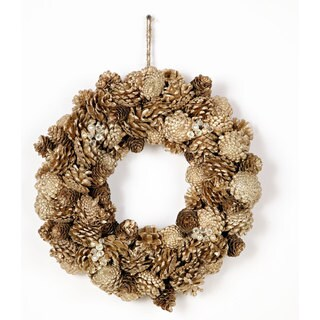 15 Inch Pine Cone on a wire base Jewel Glitter Wreath, Packed 1 Each