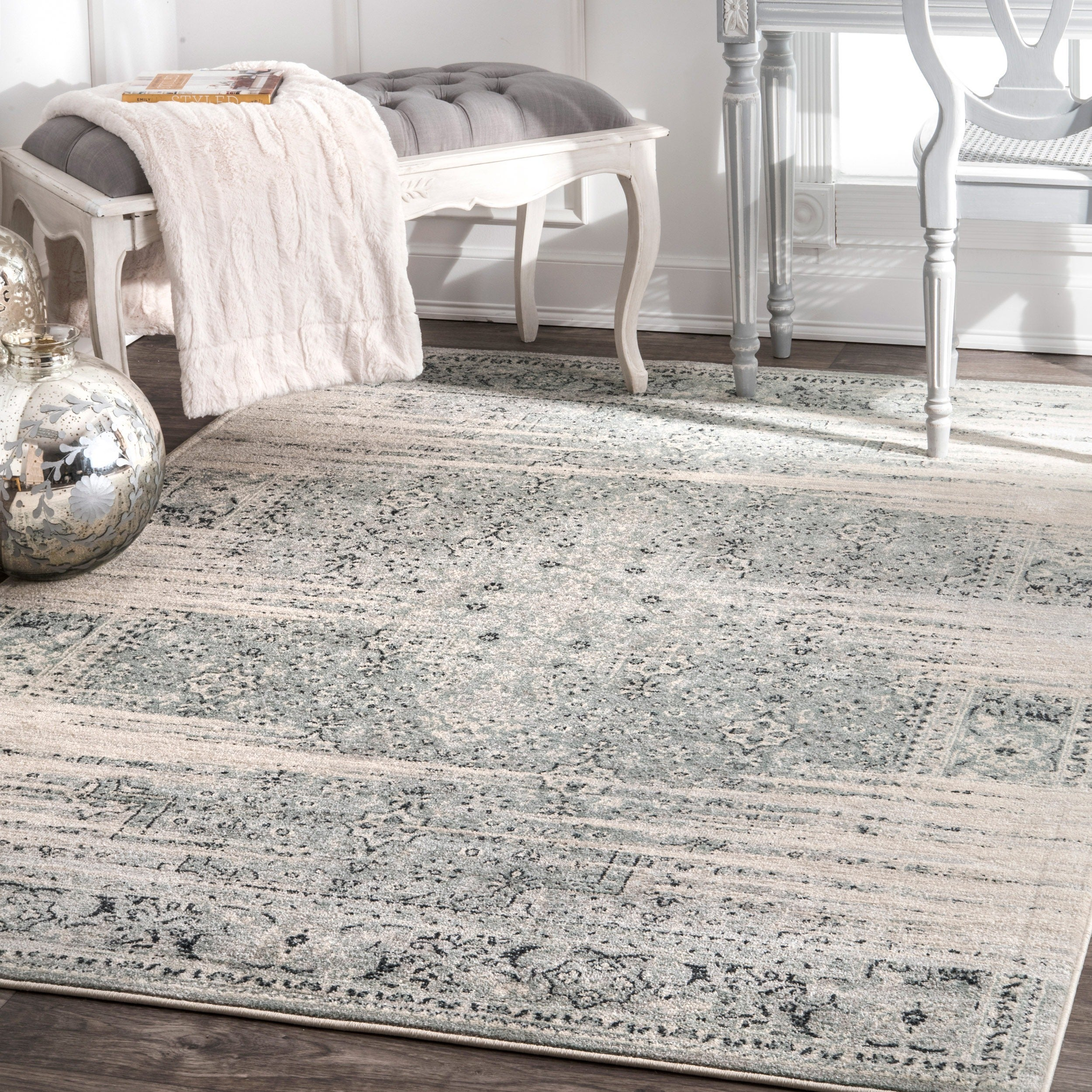 Shop Nuloom Traditional Vintage Abstract Blue Rug 5 3 X 7