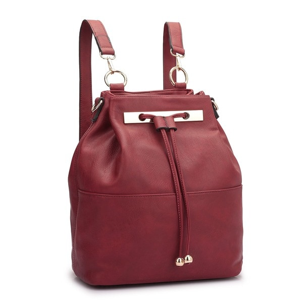 Dasein Faux Leather Convertible Drawstring Bucket Bag Backpack ...