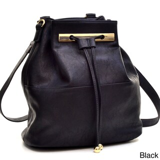 Dasein Faux Leather Convertible Drawstring Bucket Bag Backpack (Option: Black)