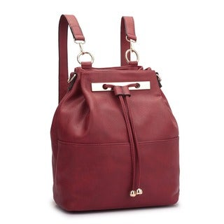 Dasein Faux Leather Convertible Drawstring Bucket Bag Backpack