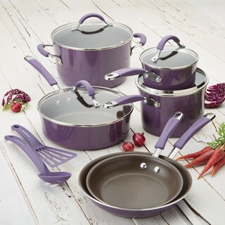 Rachael Ray Cucina Hard Enamel Nonstick 12-Piece Cookware Set, Lavender Purple