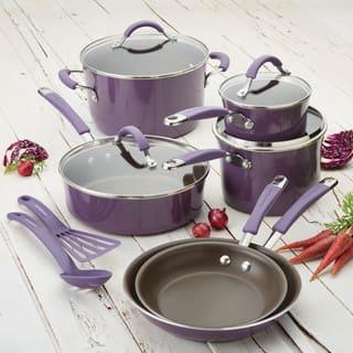 Rachael Ray Cucina Hard Enamel Nonstick 12-Piece Cookware Set, Lavender Purple