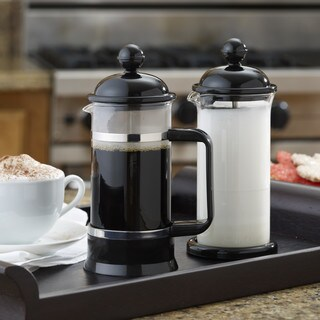 BonJour Coffee 3-Cup La Petite French Press and Milk Frother Set, Black