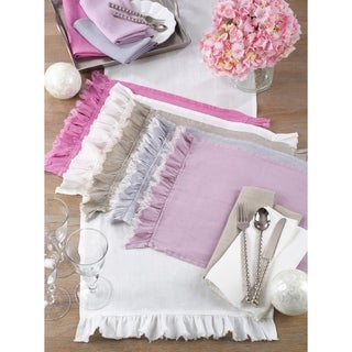 Ruffled Design Linen Blend Placemat (Set of 4)