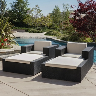 Christopher Knight Home Ventura Outdoor 4-piece Wicker Lounge Set with Sunbrella Cushions