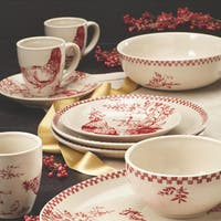 BonJour Dinnerware Chanticleer Country 9-Inch Stoneware Round Serving Bowl, Burgundy Red