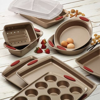 Rachael Ray Cucina Latte Brown Nonstick Bakeware with Cranberry Red Handle Grips 10-Piece Set