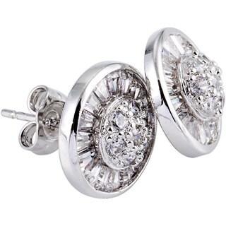 Simon Frank Hand-cut Rhodium Overlay Halo CZ Earrings