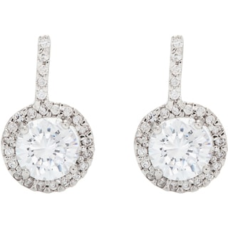 Simon Frank Classic Halo Design Hand-cut CZ Earrings