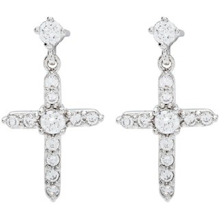 Simon Frank Collection Traditional Cross Cubic Zirconia Earrings