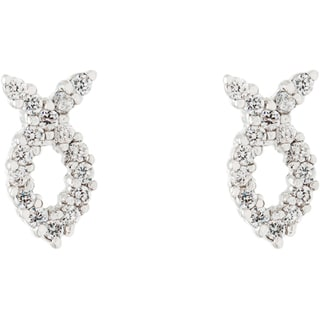 Simon Frank Silvertone 'Fish Symbol' CZ Earrings