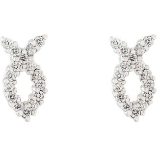 Simon Frank Silvertone 'Fish Symbol' CZ Earrings