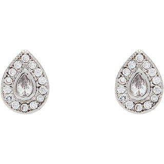 Simon Frank Rhodium Overlay Silvertone Teardrop Elegant Cubic Zirconia Earrings