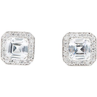 Simon Frank Asscher-cut Hand-set Silvertone CZ Earrings