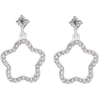 Simon Frank Rhodium Overlay Silvertone Wishing Star Cubic Zirconia Earrings
