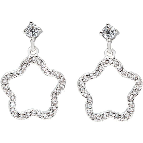 Simon Frank Rhodium Overlay Silvertone Wishing Star Cubic Zirconia Earrings