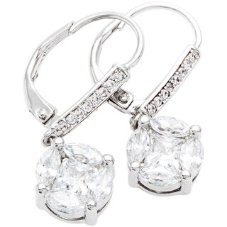 Simon Frank Silvertone Princess and Marquise Cut Cubic Zirconia Earrings