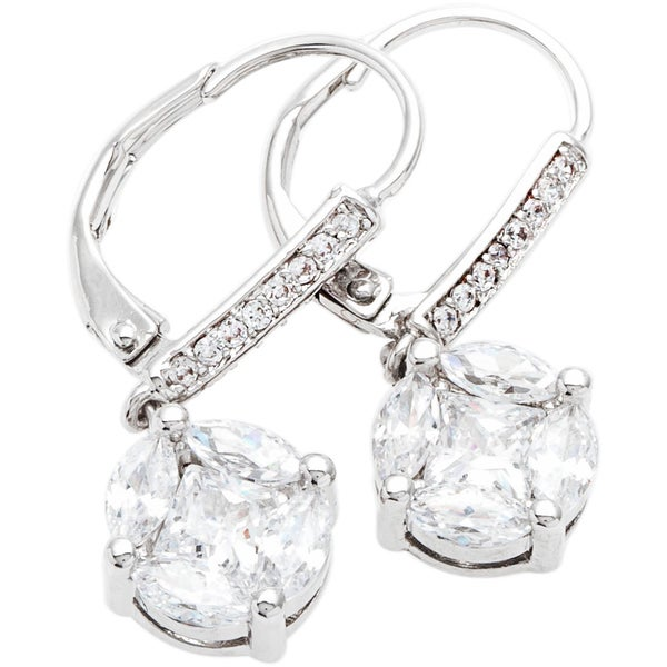 Simon Frank Silvertone Princess and Marquise Cut Cubic Zirconia Earrings - Silver