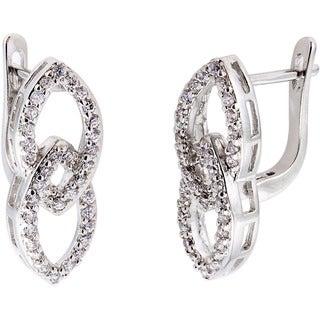 Simon Frank Rhodium Overlay Silvertone Infinity Cubic Zirconia Earrings