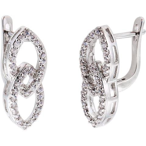 Simon Frank Silvertone Infinity Cubic Zirconia Earrings