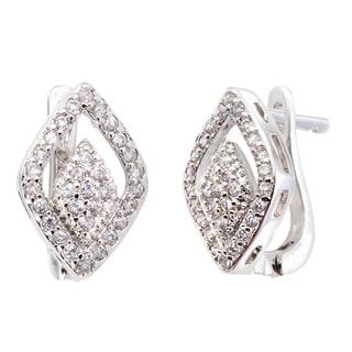 Simon Frank Collection Silvertone Couture Design CZ Earrings