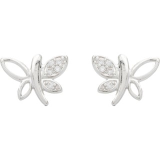 Simon Frank Rhodium Overlay Silvertone Delicate Butterfly Cubic Zirconia Earrings
