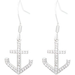 Simon Frank Rhodium Overlay Anchor Cubic Zirconia Dangle Earrings