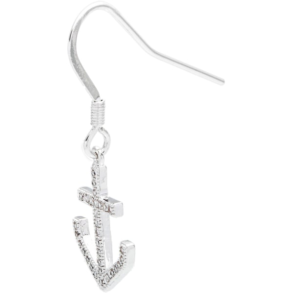 Solid Sterling Silver Rhodium Plated Anchor Dangle Earrings