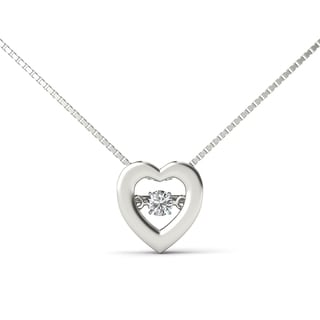 De Couer 10k White Gold 1/10ct TDW Diamond Heartbeat Necklace (H-I, I1-I2)