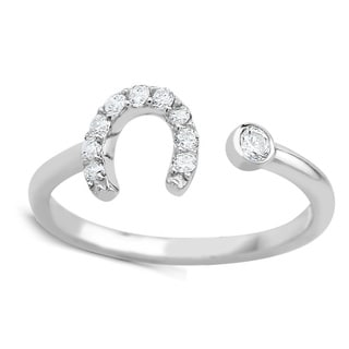 925 Sterling Silver Cubic Zirconia Horseshoe Midi Ring (Option: 2)