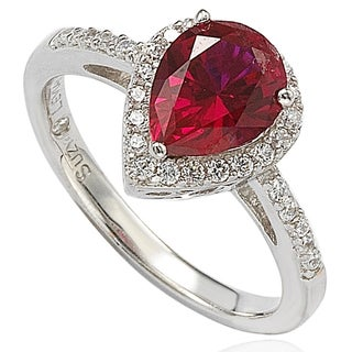 Suzy Levian Sterling Silver Created Ruby and Cubic Zirconia Ring