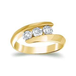 Auriya 14k Gold 1/2 ct TDW 3-stone Round Diamond Ring