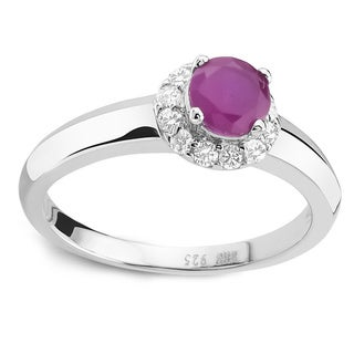 925 Sterling Silver Round-cut Ruby and Cubic Zirconia Ring - Pink