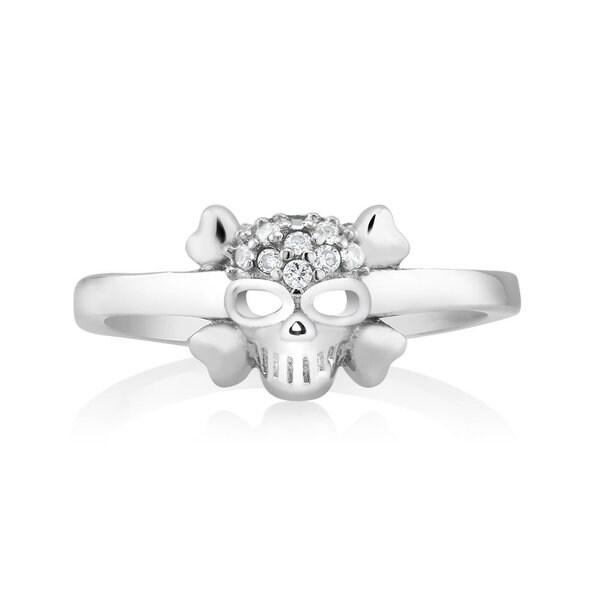 925 Sterling Silver Cubic Zirconia Skull Midi Ring