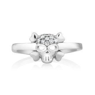 925 Sterling Silver Cubic Zirconia Skull Midi Ring (Option: 2)