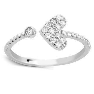 925 Sterling Silver Cubic Zirconia Heart Midi Ring