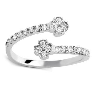 925 Sterling Silver Cubic Zirconia Clover Midi Ring (Option: 2)