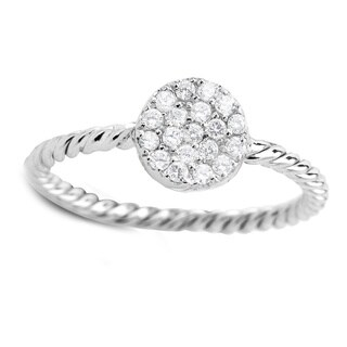 925 Sterling Silver Cubic Zirconia Round Midi Ring