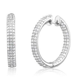 Rhodium-plated Cubic Zirconia In and Out Hoop Earrings