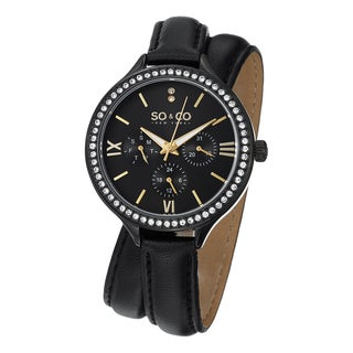 SO&CO New York Women's Quartz Madison Swarovski Crystal Accented Watch with Black Double Wrap Leather Strap