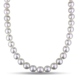 Miadora Signature Collection 14k White Gold South Sea High Luster Pearl Diamond Accent Necklace (10-11 mm)