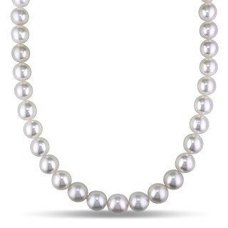Miadora Signature Collection 14k White Gold South Sea High Pearl and Diamond Accent Necklace (10-12 mm)