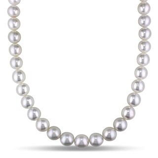 Miadora Signature Collection 14k White Gold South Sea High Luster Graduated Pearl and Diamond Accent Necklace (10-12 mm)