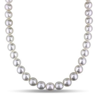 Miadora Signature Collection 14k White Gold South Sea High Luster Pearl and Diamond Accent Necklace (10-12 mm)