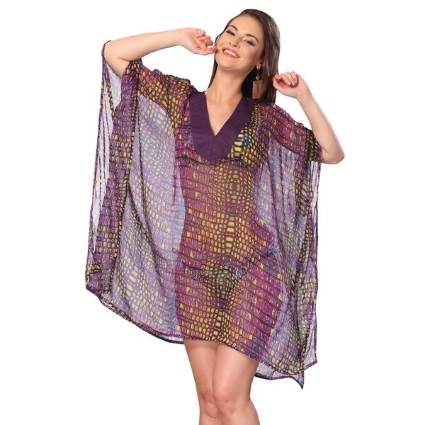 fb07d51bc0504 La Leela Swimsuit Beachwear Bikini Cover up Swimwear Tunic Kaftan Ladies  Wrap Top Abstract Shrug