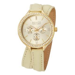 SO&CO New York Women's Quartz SoHo Swarovski Crystal Accented Off-white Leather Watch with Double Wrap Leather Strap