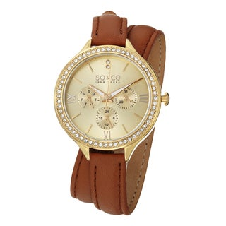 SO&CO New York Women's Quartz SoHo Swarovski Crystal Accented Watch with Double Brown Leather Wrap Strap